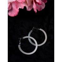 Metallic Black Flat Hoop Earrings