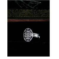 Adjustable Oxidized Silver Floral Ring