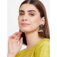 Pink and Green Lotus Meenakari Jhumki Earrings