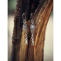 Short Oxidized Silver Sword Earrings