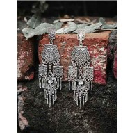 Classic Tribal Jewellery Long Dangler Earrings With Pretty Hanging Trinkets