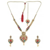 Multicolored Stone Studded Golden Necklace Set