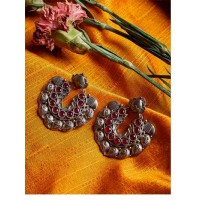 Brass Based Oxidized Silver Earrings Embellished With Deep Red Stones