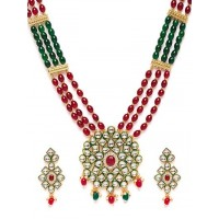 Green & Red Gold-Plated Kundan and Pearl Jewellery Set