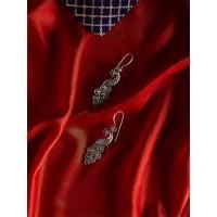 Short Silver Peacock Earrings