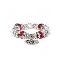 Maroon and Silver Heart Charm Bracelet