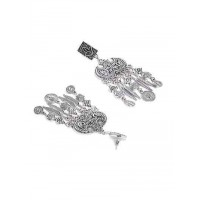 Floral Tribal Jewellery Earrings With Hanging Leaves and Coins