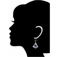 Silver Blue Peatles Earrings