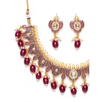 Gold Plated Pink Kundan Meena Studded Jewellery Set