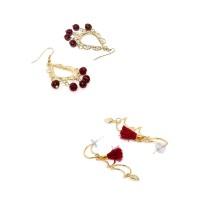 Maroon Western Earrings and Red Tassel Western Earrings Combo