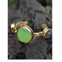 Lime and Black Druzy Gemstones Studded Brass Cuff Bracelet