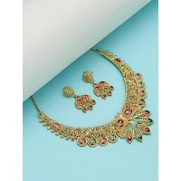 Golden Necklace Set Studded with Red and Green Stones