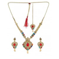 Multicolored Stone Studded Golden Necklace Set for Wedding