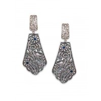 Designer Floral Brass Based Oxidized Silver Earrings With Blue Stones
