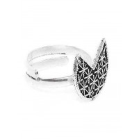 Adjustable Oxidized Silver Patterned Ring