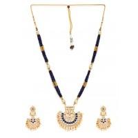 White & Blue Gold-Plated Kundan Jewellery Set