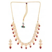 Golden & Maroon Ethnic Necklace Set For Women