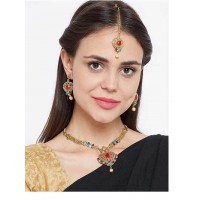 Heart Shaped Multicolored Stone Embellished Golden Necklace Jewellery Set for Wedding