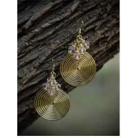 Trippy Silver Metal Circular Daze Handmade Western Earrings