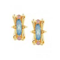 Poison Girl in Jelly Blue Opal Brass Designer Statement Party Wear Earrings