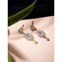 American Diamond Classic Floral Dangle Earrings