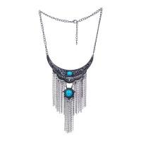Teal Stone Pendant Collar Ethnic Tassel Fashion Necklace