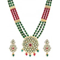 Green & Red Gold-Plated Kundan Jewellery Set