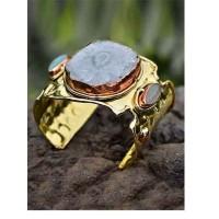 Golden Designer Cuff Studded With Aqua Calcy Gemstone