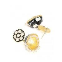Black and White Lotus Meenakari Jhumki Earrings