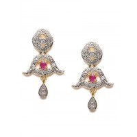 American Diamond Bell Earrings with Red Stone