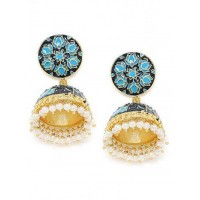 Blue Lotus Meenakari Jhumki Earrings