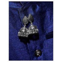 Pretty Tribal Jewellery Short Jhumkis With Hanging Silver Bells