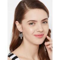Short Oxidized Silver Owl Earrings For Women