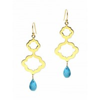 Golden Blue Bead Earrings