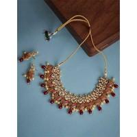 Gold Plated Red Kundan Meena Studded Jewellery Set