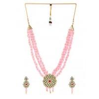 Pink & Green Gold-Plated Kundan Jewellery Set