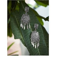 Lotus Embellished Tribal Jewellery Danglers With Hanging Leaves