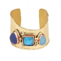 Lapiz Lazuli, Blue Calcy with Blue Crystal Stone Handmade Jewellery Cuff Bracelet