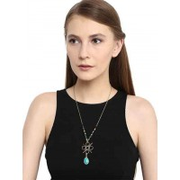 Turquoise Pendant Black Beads Fashion Necklace