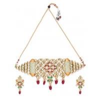 Multicolored Gold-Plated Kundan Studded Choker Necklace Set