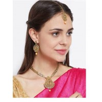 Drop Kundan and Stone Studded Golden Necklace Jewellery Set for Wedding