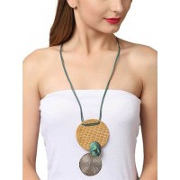 Cream pendant with Turquoise Long Statement Necklace