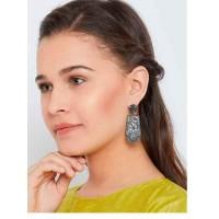 Silver Plated Peacock Brass Dangle Earrings