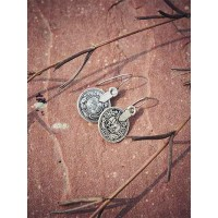 Oxidized Silver Coin Earrings