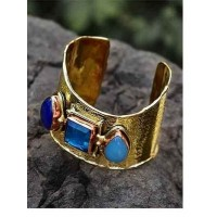 Designer Brass Cuff Studded With Semi-Precious Gemstones