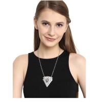 Silver Triangular Pendant Fashion Necklace and Designer Stone Embellished Wedding Earrings Combo