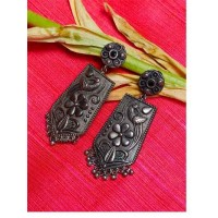 Peacock Brass Based Oxidized Silver Earrings With Floral Embellishments