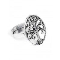 Adjustable Oxidized Silver Tree Ring