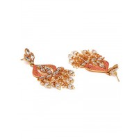 Golden and Pink Gold-Plated Kundan Earrings