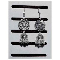 Designer Tribal Jewellery Long Jhumka Earrings With Hanging Silver Bells